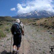 Climbers climbing base camp of Mount Ararat