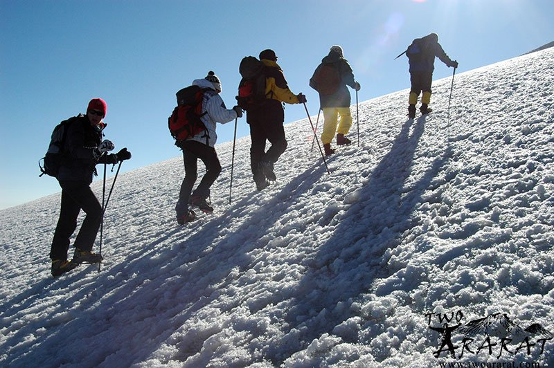 A group of climbers near the summit of Mount Ararat