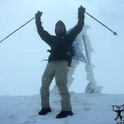 A mountaineer on Mount Ararat summit.