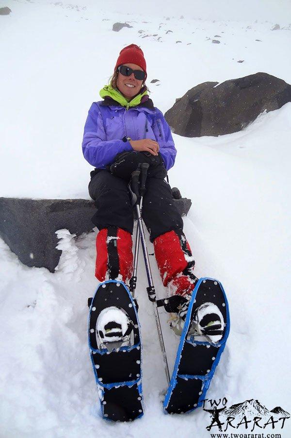 Skier Mountaineer Resting On Mount Ararat