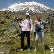 Ukrainian mountaineers climbing to the summit of Mount Ararat with their bicycles.